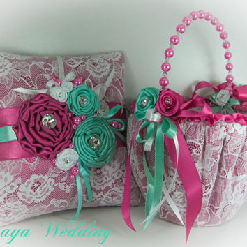 Flower Girl Basket and Ring Bearer Pillow Set in Aquamarine and Fuchsia Satin and White Lace, Wedding Set, Ring Holder, Wedding Favors