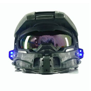 Halo 4 Master Chief Helmet Game Cosplay Cool Full Head Helmet Mask Blue LED Light