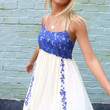 Perfectly Sweet Blue Floral Print Crochet Bust A-Line Crinkle Sundress