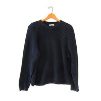 vintage black sweater. chunky knit sweater. loose knit sweater. basic black sweater.