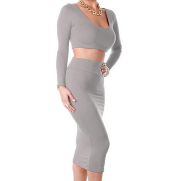 Hot!!!2pcs Sexy Ladies Exclusive Candy Color High Waisted Long Sleeve Cropped Outfit Two Piece Bodycon Dress For Women 51