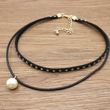 Women Leather River Choker Pearl Pendant Necklace + Gift Box 17
