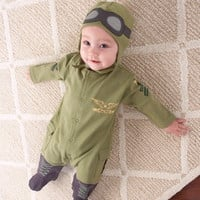 2015 New arrival baby rompers one-piece pants jumpsuit hoodie pilot design baby clothing sets cotton autumn wear = 1929966852