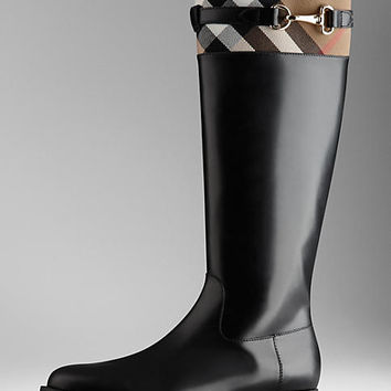 House Check Detail Riding Boots