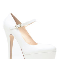 White Mary Jane Platform Pumps