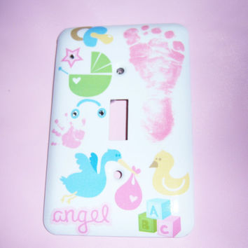 Baby Girl themed steel single light switch by MoanasUniqueDesigns