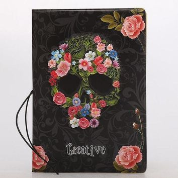 CREYCI7 Creative Skull Rose PU Leather Passport Covers  Package Passport Holder Protector Wallet