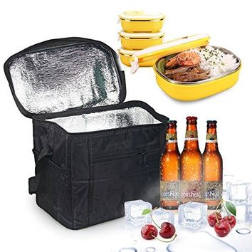 Large Insulated Lunch Tote Bag Cooler Box - Black