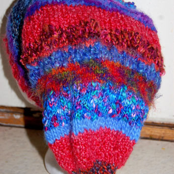 OOAK Art to Wear knitted Pixie Gnome Hobbit Fairy Elf Hat for Hippie Gypsy Festival