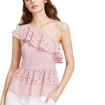 Floral Lace Top Pink One Shoulder Cute Blouse Women Sexy Flounce Summer Tops Ruffle Cut Out Elegant Blouse