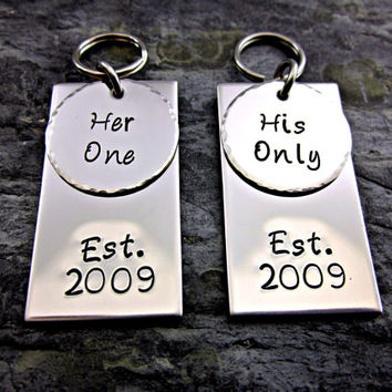 Her One His Only Keychain - Established Date - Circle / Rectangle - Hand Stamped Stainless Steel