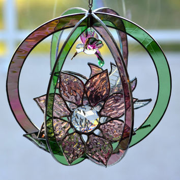 Original Design Stained Glass Suncatcher 3D Flowers Hummingbird Dusty Rose and Green, Window Ornament Home Decor, Suncatcher, 3d Sun Catcher