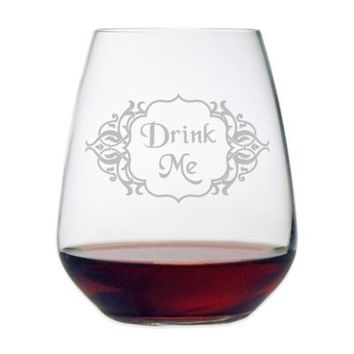 "Etched Novelty Barware ""Drink Me"" Stemless Wine Glass"