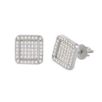Screw Back Earrings Sterling Silver Pave CZ Cubic Zirconia 9mm Round Square
