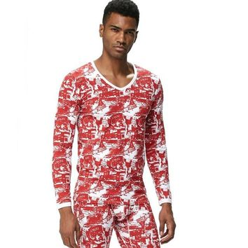 JOCKMAIL Men's Cotton Long Johns Thermal Underwear with Printed Pattern 2pcs Top+Pants