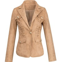 Honey Couture ROXY Brown Suede Detailed Jacket