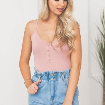 Ribbed Button Up Crop Tank Top | Mauve