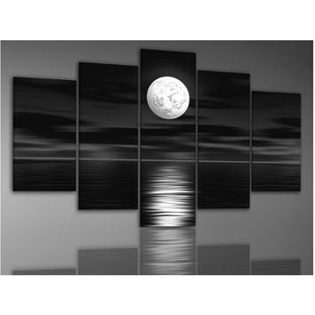Unframed Hand-Painted Oil Wall Art Sea Full Moon Night Home Decoration Abstract Landscape Oil Painting On Canvas 5pcs/