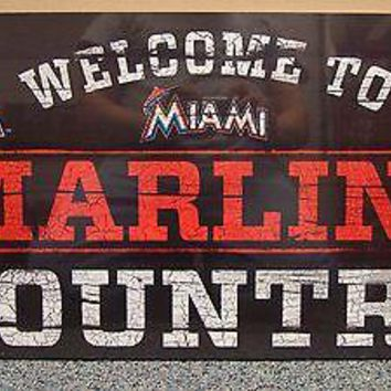 "MIAMI MARLINS WELCOME TO MARLINS COUNTRY WOOD SIGN 13""X24'' NEW WINCRAFT"