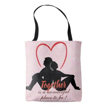 Cool Pink texture Couple love design with together Tote Bag