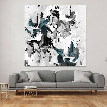 Nordic Abstract Graffiti Canvas Painting Simple Gray Blue Ink Decorative Poster Black And White Wall Art Picture For Home Decor