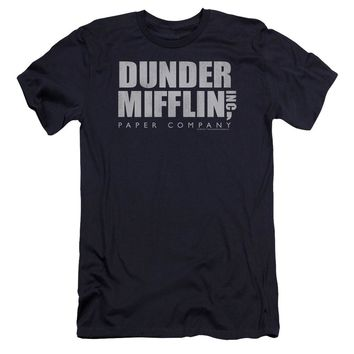The Office - Dunder Mifflin Distressed Premium Canvas Adult Slim Fit 30/1 Shirt Officially Licensed T-Shirt