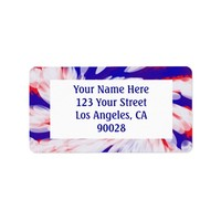 red white and blue address label