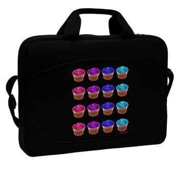 "Colorful Cupcake Pattern 15"" Dark Laptop / Tablet Case Bag by TooLoud"