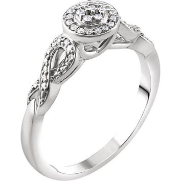 10K White Gold 1/10 CTW Diamond Muti Stone Halo Infinity Side Promise Ring