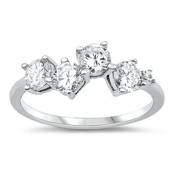 A Perfect 4.2TCW Russian Lab Diamond Cluster Journey Ring