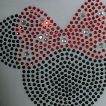 "6.5"" red Minnie Mouse iron on rhinestone TRANSFER for Disney t-shirt"