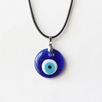 Turkish Evil Eye Necklace  Glass Charm Pendent Blue Kabbalah Protector