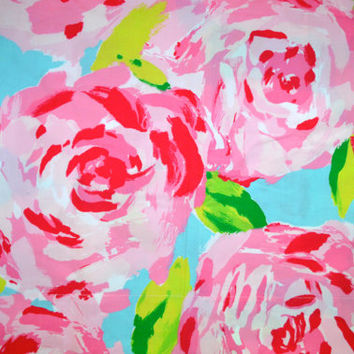 Lilly Pulitzer Fabric Hotty Pink First Impression (roses in pink & aqua) HPFI