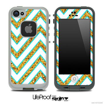 Large Chevron and Gold Sparkle V1 Skin for the iPhone 5 or 4/4s LifeProof Case