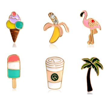Palm Tree Flamingo Ice Cream Popsicles Banana Coffee Cups Pins Button Animal Metal Brooch Bag Jacket Collar Badge Jewelry 1Pcs !