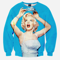 Princess Monroe All Over Print Marilyn Monroe Sky Blue Crew Neck Sweatshirt