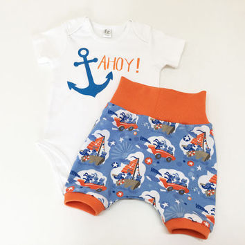 Ahoy Matey! Baby Boys Outfit, Ahoy Bodysuit and Harem Shorts for Boys, Nautical Outfit, Nautical Baby, Animals and Sailing Print for Baby