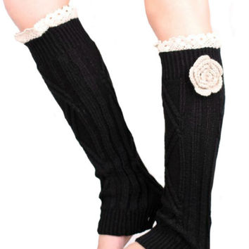 Retro Black Lace Floral Decorated Knitted Leg Warmers