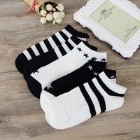 SOFIBERY Women's Casual socks New Hot striped Socks couple sports and leisure socks fashion boat socks SK12