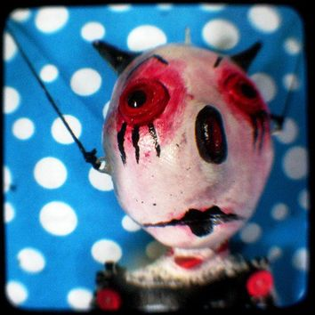 Carnival Art devil Doll TTV Photo. You Little Love Devil. Original 5x5 whimsical print. turkey eyes, black horns, red white blue polka dots, clown pointy nose, childrens wierd room decor