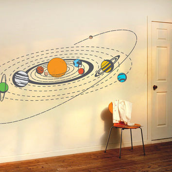 "Wall Decal Kids Children Murals "" Solar system ""  47.2'' x 98.4''"