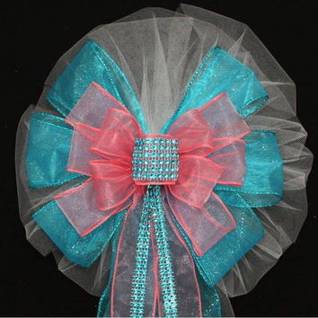 Turquoise Bling Coral Sparkle Wedding Bows