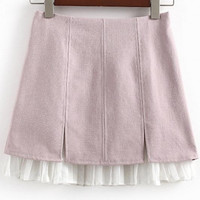 Women's Zip Back Pleated Chiffon Hem A-line Skirt