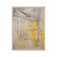 "CarolLynn Tice ""Abstraction"" Grey Yellow KESS Naturals Canvas (Frame not Included)"