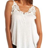 Crochet-Topped Swing Tank Top by Charlotte Russe