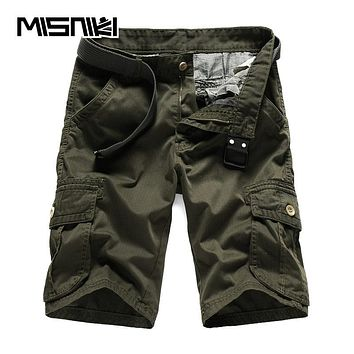 Summer New Solid Cargo Shorts Men Casual Cotton Black Army green Men Shorts