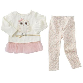 MUD PIE SPOTTED OWL TUNIC & LEGGING SET BABY & TODDLER GIRL 24M/2T, 3T, 4T, 5T