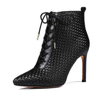 Handmade Leather Weave Ankle Boots Women Brand Pointed toe Lace Zipper Boot
