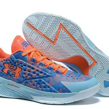 HCXX Men's Under Armor Curry 1 Low-Cup Basketball Shoes Blue Orange 40-46