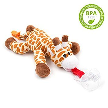 BabyHuggle Giraffe Pacifier - Stuffed Animal Binky, Soft Plush Toy with Detachable Silicone Baby Dummy, Paci Clip Leash & Squeaky Sound